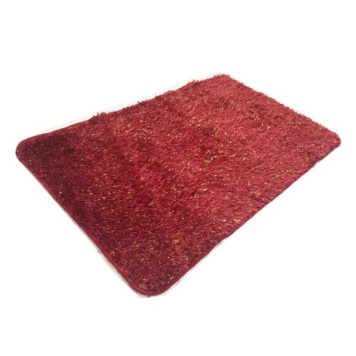 STYLISH LUXURY SPARKLE GLITTER FLUFFY SUPER SOFT BATH MAT NON SLIP BURGUNDY WINE